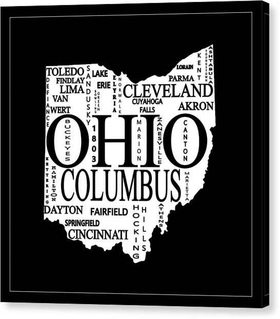 Canvas Print featuring the mixed media Ohio City Typography Map by Dan Sproul