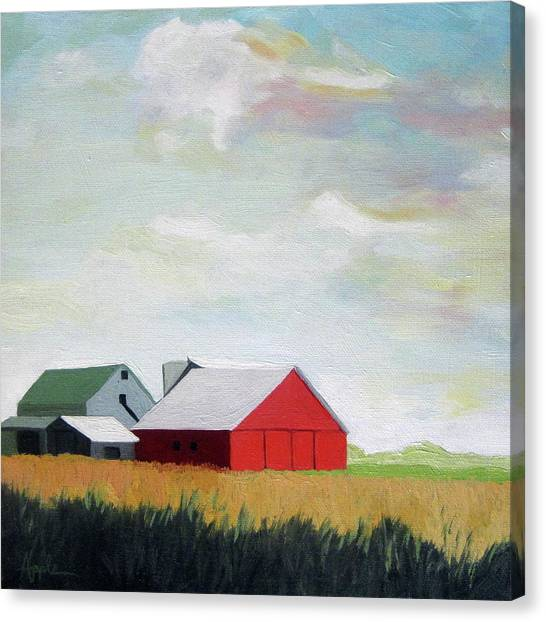 Ohio Farmland- Red Barn Canvas Print