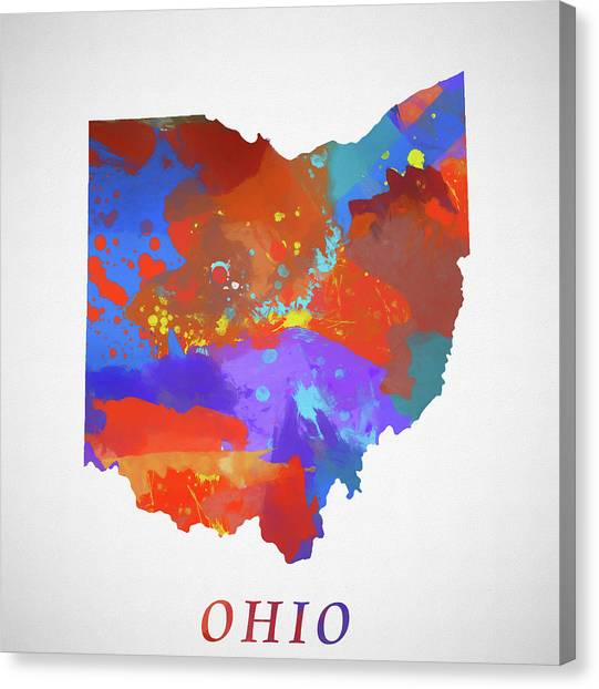 Cleveland State University Canvas Print - Ohio Map by Dan Sproul