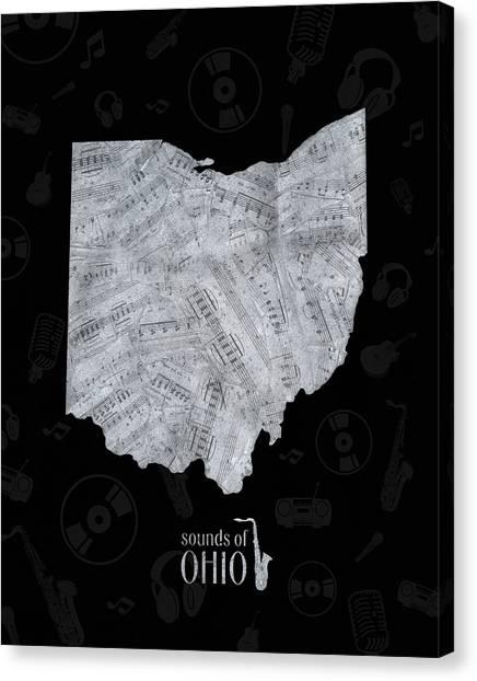 Cincinnati Reds Canvas Print - Ohio Map Music Notes 2 by Bekim Art