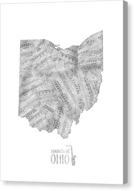 Cincinnati Reds Canvas Print - Ohio Map Music Notes  by Bekim Art