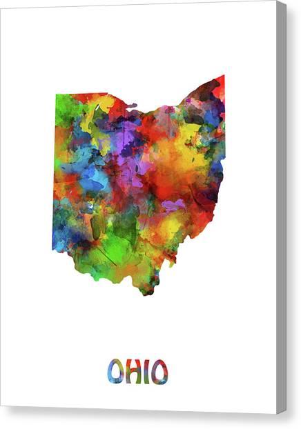 Cincinnati Reds Canvas Print - Ohio Map Watercolor by Bekim Art