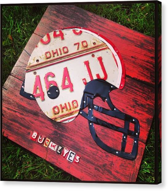 White Canvas Print - Ohio State #buckeyes #football Helmet - by Design Turnpike