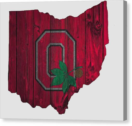 Ohio State University Canvas Print - Ohio State Buckeyes Map by Dan Sproul