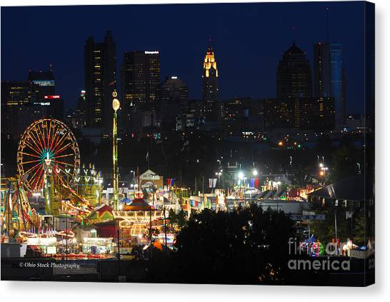 D3l-464 Ohio State Fair With Columbus Skyline Canvas Print