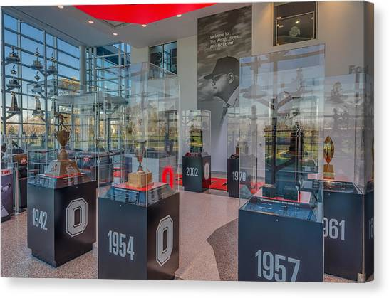 Ohio State University Canvas Print - Ohio State Football National Championship Trophy Woody Hayes Mural by Scott McGuire