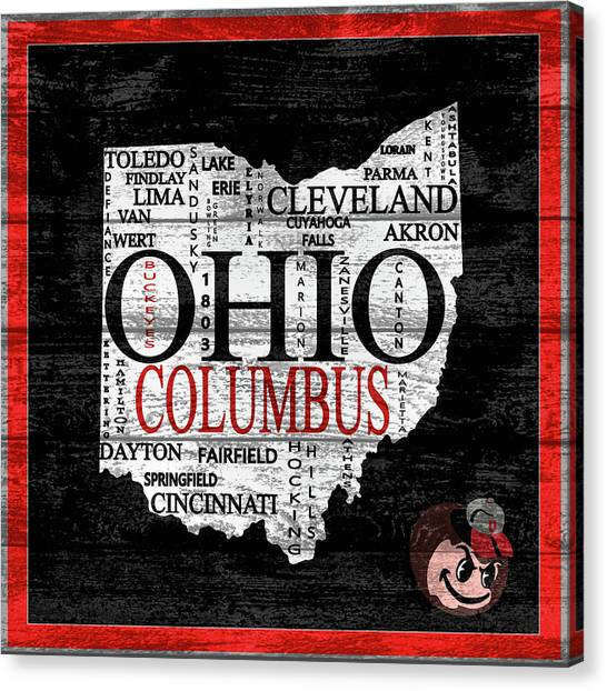 Cleveland State University Canvas Print - Ohio State Map Barn Door by Dan Sproul