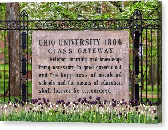 Ohio University Canvas Print - Ohio University Class Gateway In Spring by Robert Powell