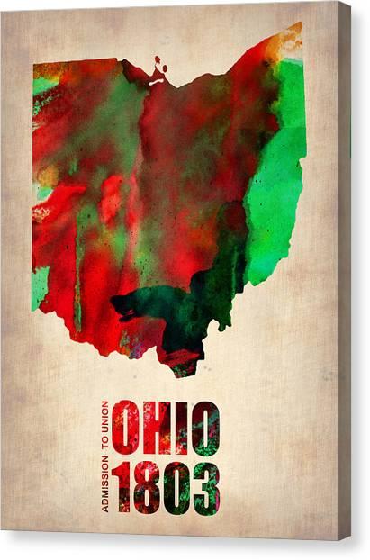 Ohio Canvas Print - Ohio Watercolor Map by Naxart Studio