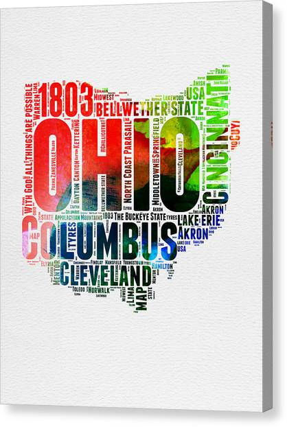 Ohio Canvas Print - Ohio Watercolor Word Cloud Map  by Naxart Studio