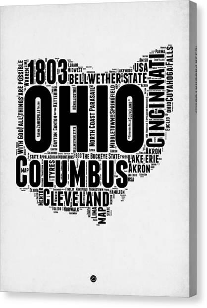 Ohio Canvas Print - Ohio Word Cloud Map 2 by Naxart Studio