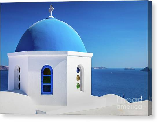 Greece Canvas Print - Oia Chapel by Inge Johnsson