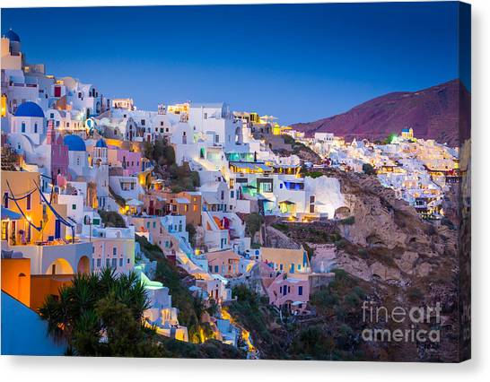Europa Canvas Print - Oia Hillside by Inge Johnsson