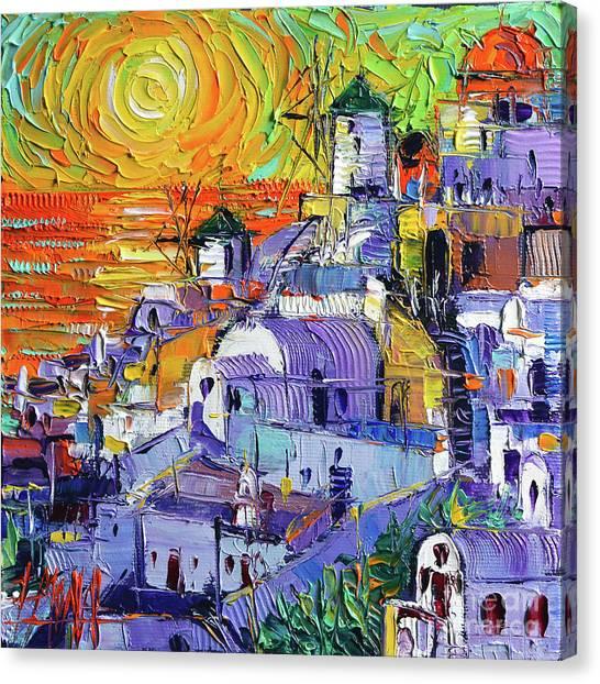 Santorini Canvas Print - Oia Santorini Magic Light Mini Cityscape 09 - Modern Impressionist Palette Knife Oil Painting by Mona Edulesco