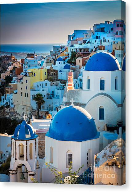 Greece Canvas Print - Oia Town by Inge Johnsson