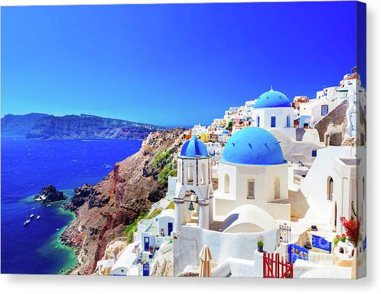 Oia Town On Santorini Island, Greece. Caldera On Aegean Sea. Canvas Print