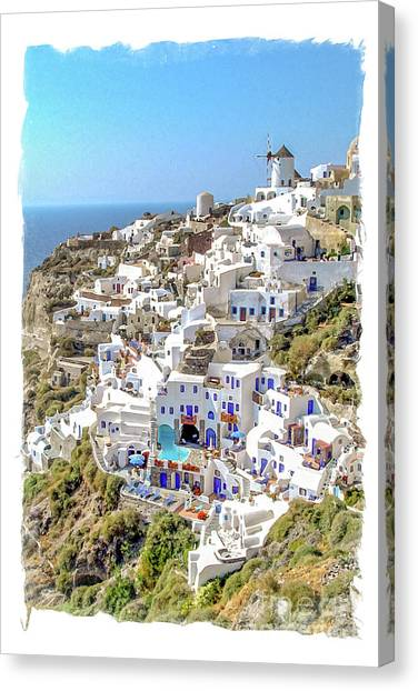 Mills Canvas Print - Oia Watercolor by Delphimages Photo Creations