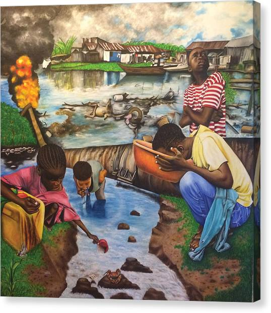 Oil- Africans' Wealth And Woe Canvas Print