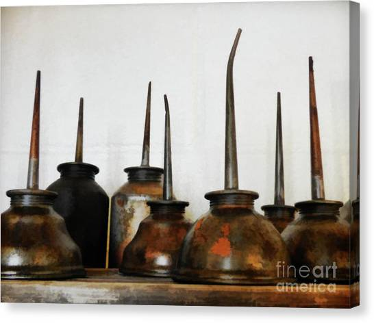 Oil Can, Rusted Canvas Print by Laura Atkinson