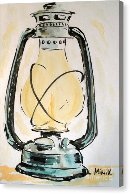 Canvas Print featuring the painting Oil Lamp by Maria Langgle