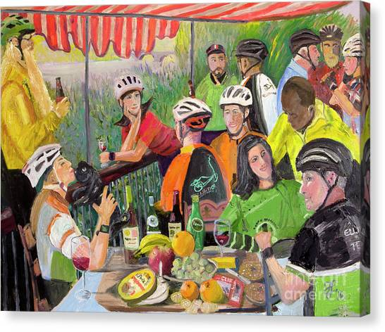 Oil- Luncheon Of The Cycling Party Canvas Print