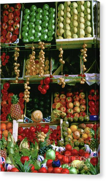 Oil Painted Faux Paris Fruit Display Canvas Print