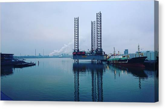 Oil Rigs Canvas Print - Oil Platform by Jackie Russo