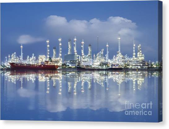 Chemicals Canvas Print - Oil Refinery Industry Plant by Setsiri Silapasuwanchai