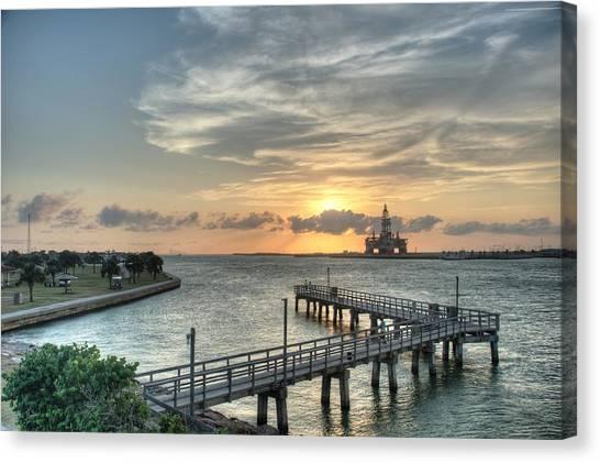 Oil Rig In Gulf Canvas Print