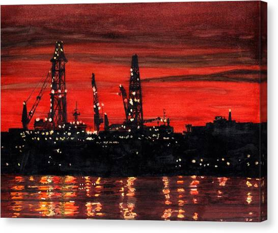 Canvas Print featuring the painting Oil Rigs Night Construction Portland Harbor by Dominic White