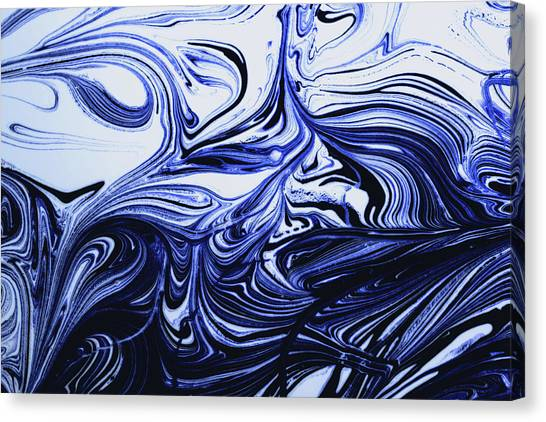 Oil Swirl Blue Droplets Abstract I Canvas Print