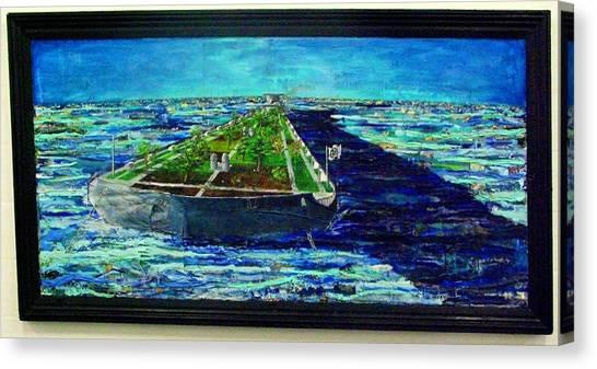 Oil Tanker Island Canvas Print by Samuel Miller
