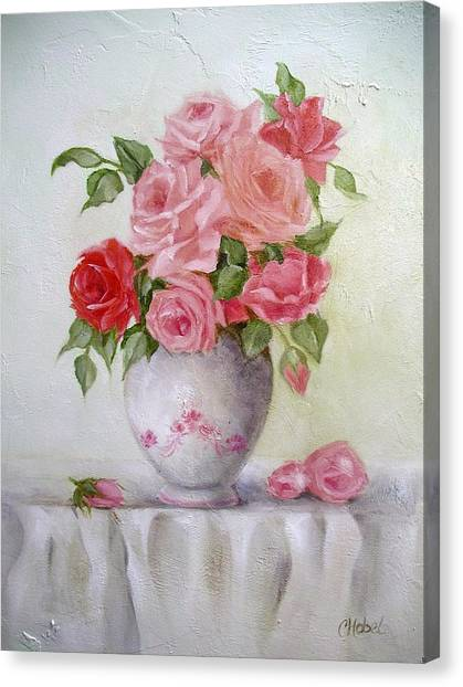 Oil Vase Rose Canvas Print