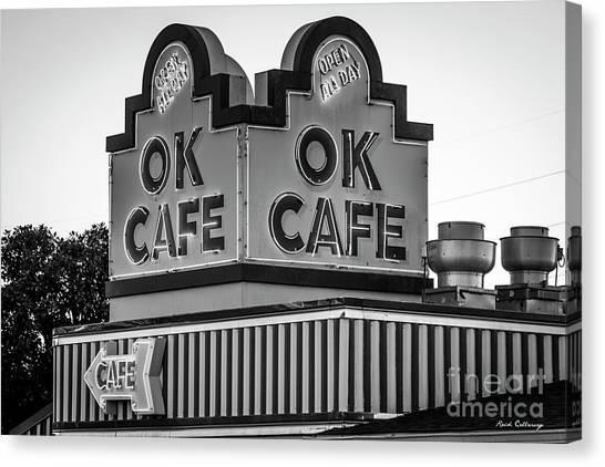 Ok Cafe Neon 2 B W Atlanta Classic Landmark Restaurant Art Canvas Print