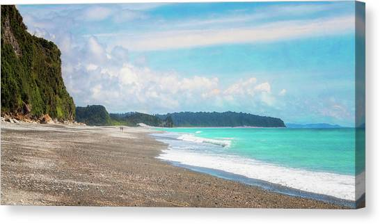 Beach Cliffs Canvas Print - Okarito Beach New Zealand Artistic by Joan Carroll