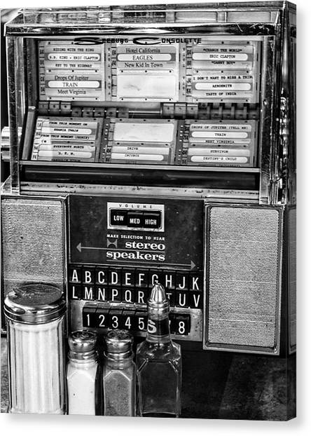 Jukebox Canvas Print - #ok_bnw #bwphoto #bnwlovers #bnw_city by Lynda Gagnon
