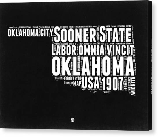 Independence Day Canvas Print - Oklahoma Black And White Map by Naxart Studio