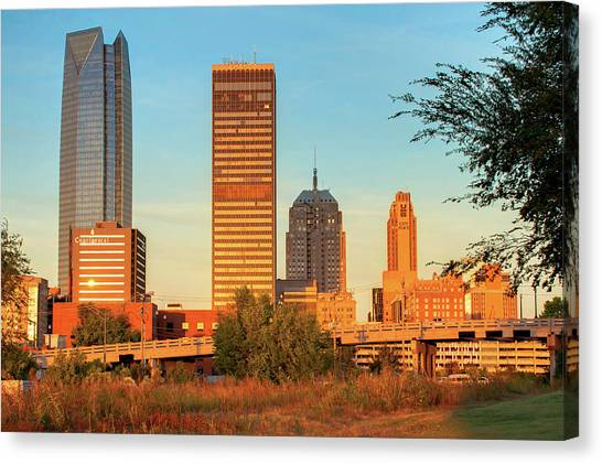 City Sunrises Canvas Print - Oklahoma City Skyline Morning by Gregory Ballos