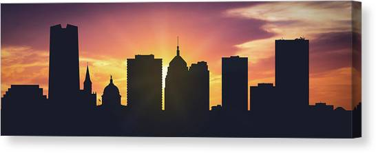 City Sunsets Canvas Print - Oklahoma City Sunset Usokoc-pa01 by Aged Pixel