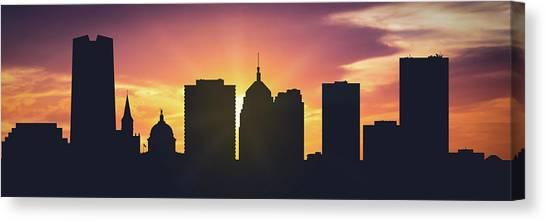 City Sunset Canvas Print - Oklahoma City Sunset Usokoc-pa01 by Aged Pixel