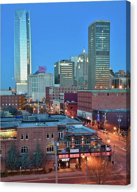 Oklahoma city skyline canvas print oklahoma city tall towers by frozen in time fine art