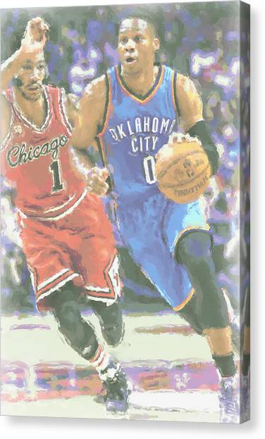 Oklahoma City Thunder Canvas Print - Oklahoma City Thunder Russell Westbrook by Joe Hamilton