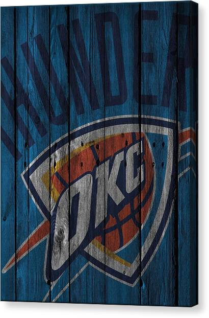Oklahoma City Thunder Canvas Print - Oklahoma City Thunder Wood Fence by Joe Hamilton
