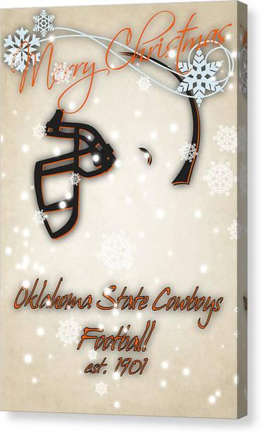 Oklahoma State University Canvas Print - Oklahoma State Cowboys Christmas Card by Joe Hamilton
