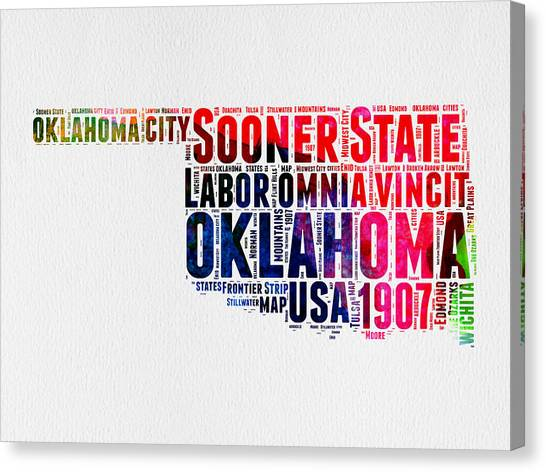4th Of July Canvas Print - Oklahoma Watercolor Word Cloud  by Naxart Studio