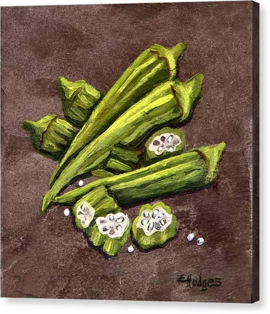 Gumbo Canvas Print - Okra by Elaine Hodges