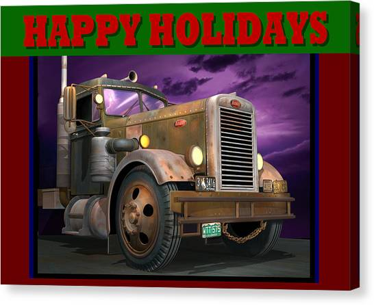 Rusty Truck Canvas Print - Ol' Pete Happy Holidays by Stuart Swartz