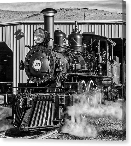 Steam Trains Canvas Print - Old 25 At Train Barn by Garry Gay