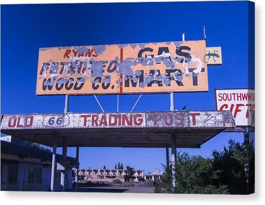 Timeworn Canvas Print - Old 66 Trading Post by Garry Gay