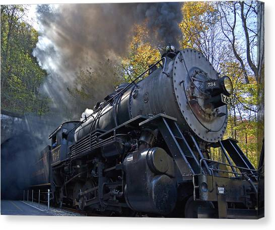 Old 734 Locomotive Train On The Western Maryland Scenic Railroad Canvas Print